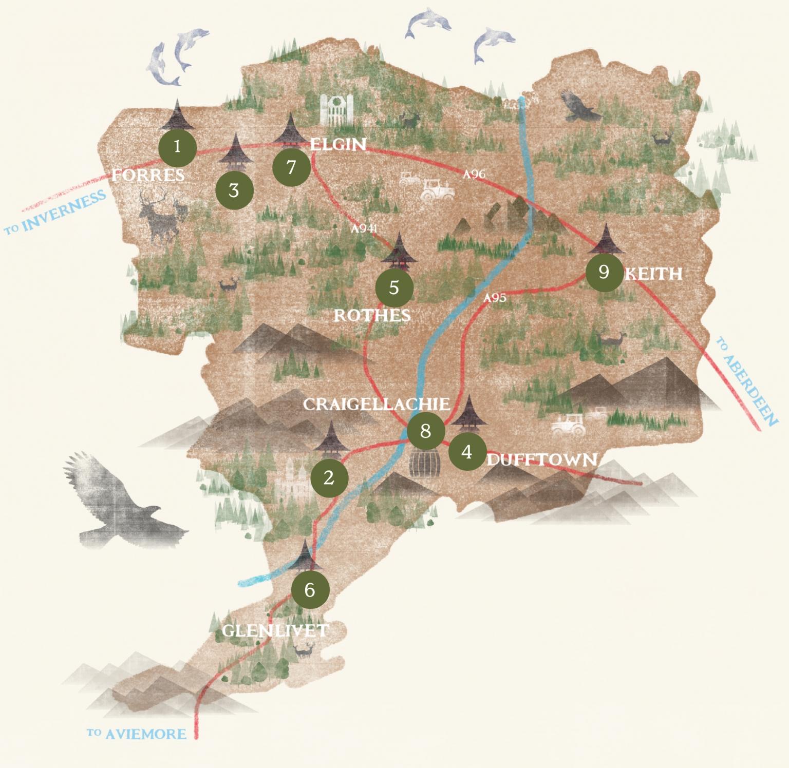 The Malt Whisky Trail map of distilleries.